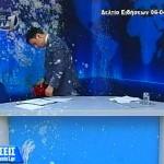 [Grécia] Ioannina: Ataque com iogurtes e ovos contra jornalista durante transmissão de programa ao vivo, por promover as ideias de um grupo neonazista