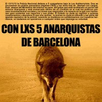 [Espanha] Chamado de Solidariedade Internacional com os 5 anarquistas de Barcelona (16 à 22 de dezembro). Liberdade Mônica e Cariñoso!