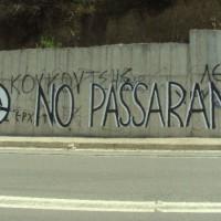 [Grécia] Pilos: pichação antifascista onde havia outra da campanha eleitoral neonazista