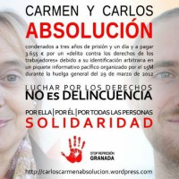 [Espanha] Contra a repressão sindical e social. Não à prisão de Carmen e Carlos