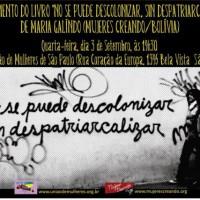 """São Paulo: Lançamento do livro """"No se puede descolonizar, sin despatriarcalizar"""""""