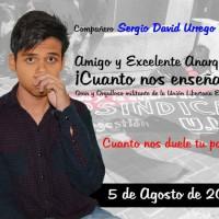 [Colômbia] Bogotá: O compa Sergio, levado a morte pela autoridade e discriminação