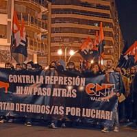 [Espanha] CNT-Valência participa de uma multitudinária manifestação contra a repressão