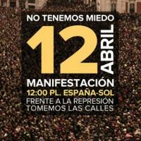 [Espanha] Manifestação 12 de abril: Não temos medo