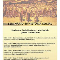 [Rio de Janeiro-RJ] Seminário de História Social - Sindicatos, Trabalhadores, Lutas Sociais (Brasil-Argentina), 18 e 19 de novembro