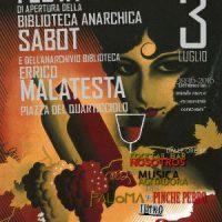 [Itália] Roma: Festa de inauguração da Biblioteca Anarquista Sabot e do arquivo E. Malatesta
