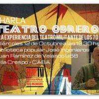 """[Argentina] Palestra: """"Teatro operário e a experiência de teatro militante na década de 70"""", por Carlos Fos"""