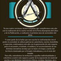 [Colômbia] Medellín: 4ª Feira Anarquista do Livro e da Publicação