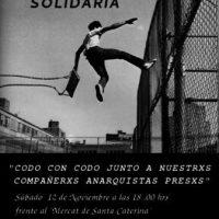 """[Espanha] Manifestação Solidária: """"Lado a lado na luta com os nossos companheiros anarquistas presos"""""""