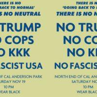 """[EUA] Manifestação Noturna """"Foda-se o Trump"""": Sábado, 19 de Novembro, em Seattle"""