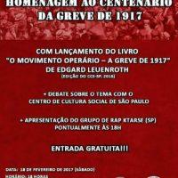 """[Guarujá-SP] """"Homenagem ao Centenário da Greve de 1917"""" é neste sábado"""