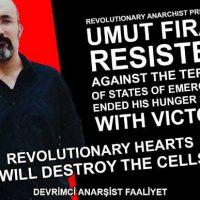 [Turquia] Prisioneiro revolucionário anarquista Umut Fırat Süvarioğulları termina greve de fome com vitória