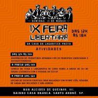 [Santo André-SP] IX Feira Libertária da Lagartixa Preta acontece neste domingo