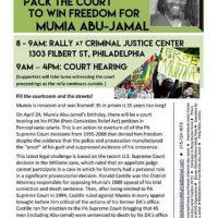 [EUA] Filadélfia: Pela liberdade de Mumia Abu-Jamal, chamam a encher o tribunal e as ruas em 24 de abril