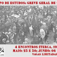 """[São Paulo-SP] Biblioteca Terra Livre promove Grupo de Estudos sobre a """"Greve Geral de 1917"""""""