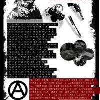 Cartaz com chamada anárquica contra as drogas e seus facilitadores