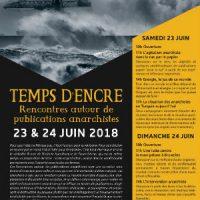 [França] Tempos de tinta. Encontros em torno de publicações anarquistas, 23 e 24 de junho