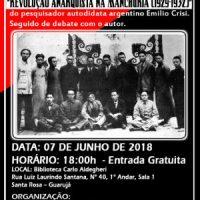 """[Guarujá-SP] Lançamento do livro: """"Revolução Anarquista na Manchúria (1929-1932)"""""""