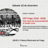 [Espanha] Palestra colóquio: CNT Fraga 1918–2018. Cem anos de anarcossindicalismo no meio rural