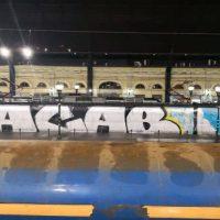 """[Chile] Trem do metrô que circula entre Santiago e Nos amanheceu pichado com um extenso """"ACAB"""""""
