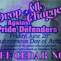 [Canadá] 28 de junho, Dia de Ação: Abandonem todas as acusações contra os defensores da Hamilton Gay Pride 2019