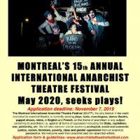 [Canadá] O 15º Festival Internacional de Teatro Anarquista de Montreal procura peças!