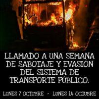 [Chile] Santiago: Chamado para uma semana de sabotagem e evasão do transporte público