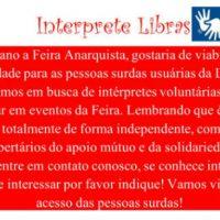 """Feira Anarquista de São Paulo: """"Procuram-se intérpretes de Libras"""""""