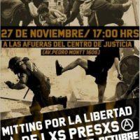 [Chile] Santiago: Ato pela liberdade dos presos e presas da revolta de outubro
