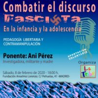 """[Espanha] Madrid: Palestra e colóquio: """"Combater o discurso fascista na infância e na adolescência"""""""