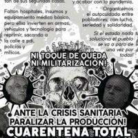 [Chile] Ante a crise sanitária, paralisar a produção! Quarentena total e greve geral!