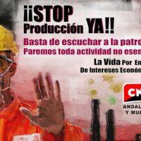 [Espanha] CNT Andaluzia-Múrcia rejeita o retorno prematuro ao trabalho porque responde à pressão dos empregadores e não a critérios de saúde