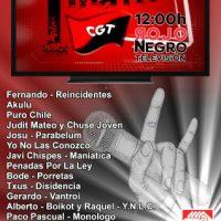 """[Espanha] A CGT realizará um concerto virtual através de """"Rojo y Negro Televisión"""" para comemorar o 1º de Maio"""