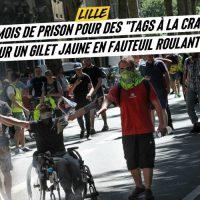 """[França] Lille: um Colete Amarelo cadeirante é condenado a 6 meses de prisão por """"pichações com giz"""""""