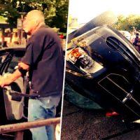 [EUA] Fascista tenta atacar manifestantes com flecha e tem carro incendiado... e ainda leva uma surra