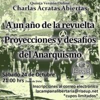 """[Chile] Jornada de bate-papo online: """"Um ano após a revolta, projeções e desafios do anarquismo"""""""
