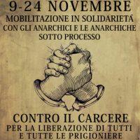 [Itália] Mobilização em solidariedade com os anarquistas em julgamento, de 09 à 24 de novembro