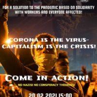 [Holanda] Amsterdam: O Corona é o vírus - O Capitalismo, a crise! - Manifestação em 20 de fevereiro de 2021