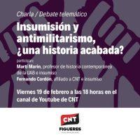 [Espanha] Sexta-feira, 19 de fevereiro. Conversa-debate. Insubmissão e antimilitarismo, uma história acabada?