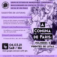 Grupo de estudos anarquismos, feminismos e masculinidades | A Comuna de Paris: Mulheres e Frentes de Lutas