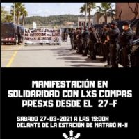 [Espanha] Sara liberada com acusações. Liberdade aos prisioneiros do 27F. Já chega de montagens policiais