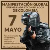 Manifestação Global nas Embaixadas e Consulados da Colômbia | 07 de Maio