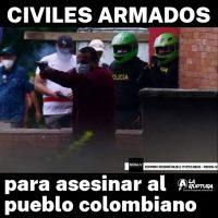 [Chile] Civis armados atiram contra manifestantes colombianos. Assassinos!