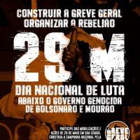 29 de Maio: Retomar as ruas para derrotar o governo genocida de Bolsonaro e Mourão
