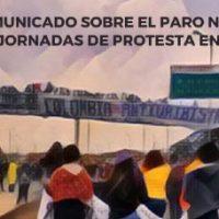 Comunicado sobre a Greve Nacional e as Jornadas de Protesto na Colômbia