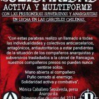 [Chile] Sobre a greve de fome na Penitenciária de Rancagua: Comunicado da companheira anarquista Mónica Caballero Sepúlveda